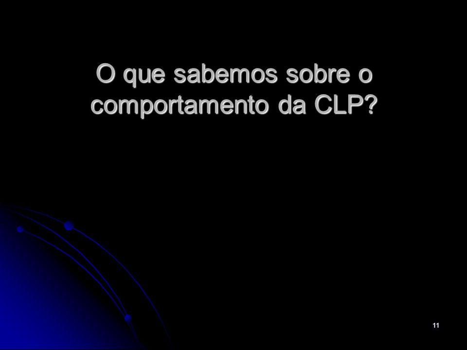 11 O que sabemos sobre o comportamento da CLP?