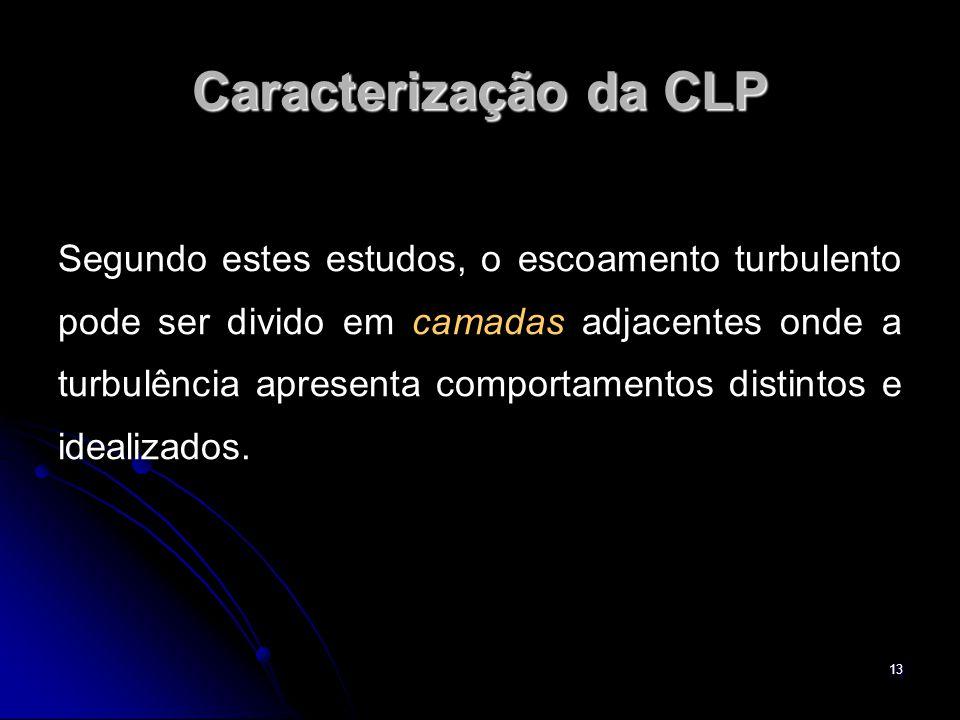 13 Caracterização da CLP Segundo estes estudos, o escoamento turbulento pode ser divido em camadas adjacentes onde a turbulência apresenta comportamen