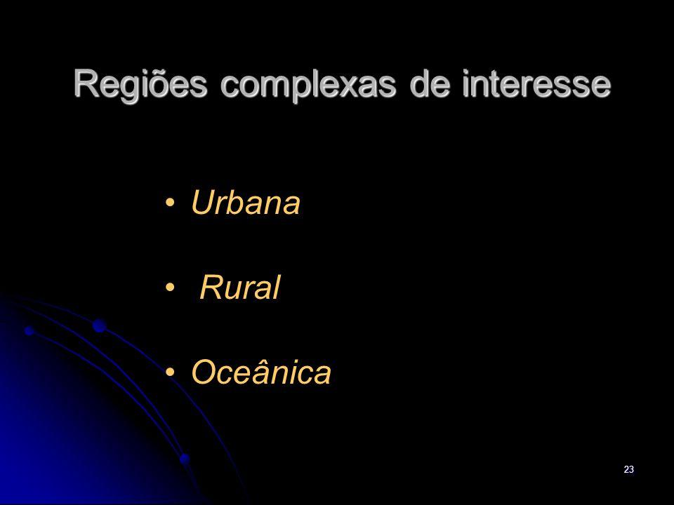 23 Regiões complexas de interesse Urbana Rural Oceânica