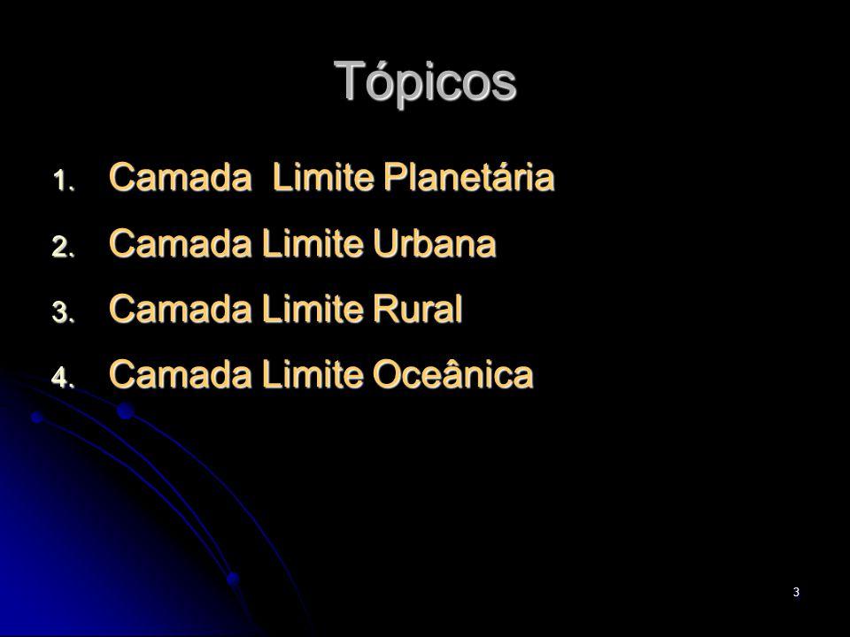 3 Tópicos 1. Camada Limite Planetária 2. Camada Limite Urbana 3. Camada Limite Rural 4. Camada Limite Oceânica