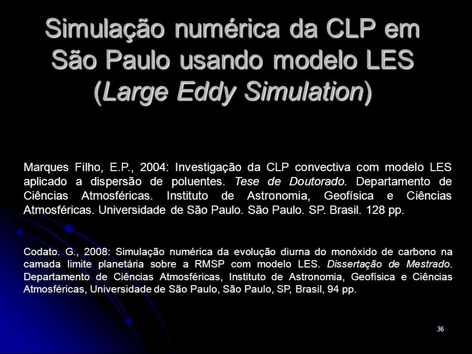 36 Simulação numérica da CLP em São Paulo usando modelo LES (Large Eddy Simulation) Marques Filho, E.P., 2004: Investigação da CLP convectiva com mode