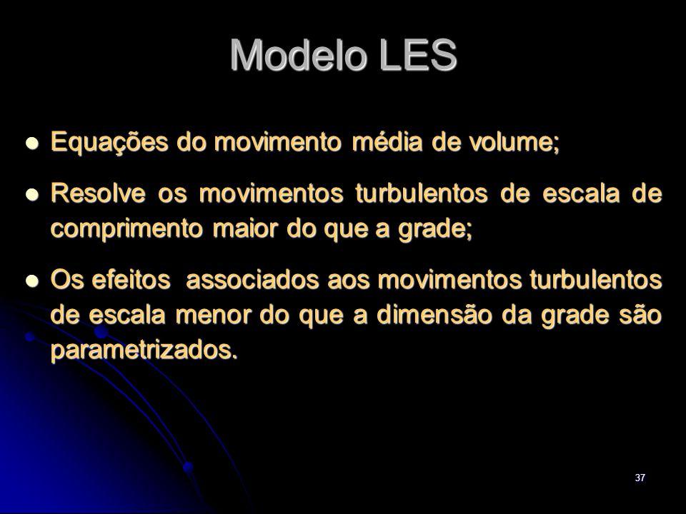 37 Modelo LES Equações do movimento média de volume; Equações do movimento média de volume; Resolve os movimentos turbulentos de escala de comprimento