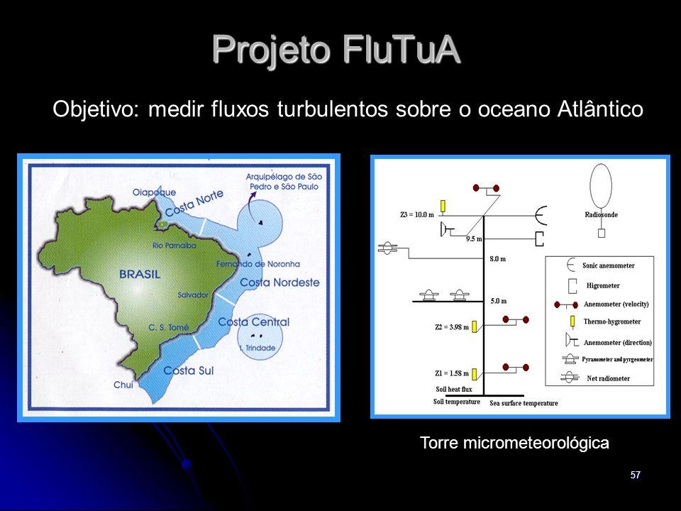 57 Projeto FluTuA Objetivo: medir fluxos turbulentos sobre o oceano Atlântico Torre micrometeorológica
