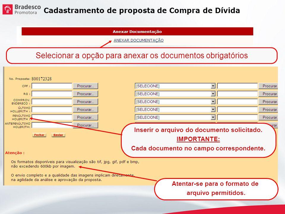 Selecionar a opção para anexar os documentos obrigatórios Inserir o arquivo do documento solicitado. IMPORTANTE: Cada documento no campo correspondent
