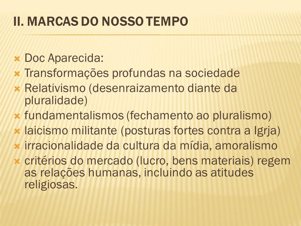 II. MARCAS DO NOSSO TEMPO Doc Aparecida: Transformações profundas na sociedade Relativismo (desenraizamento diante da pluralidade) fundamentalismos (f