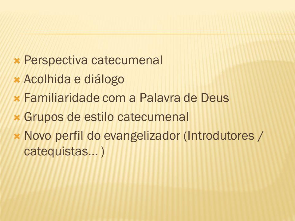 Perspectiva catecumenal Acolhida e diálogo Familiaridade com a Palavra de Deus Grupos de estilo catecumenal Novo perfil do evangelizador (Introdutores