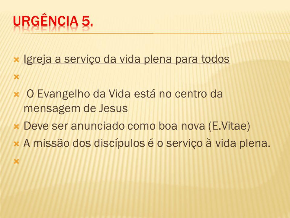 Igreja a serviço da vida plena para todos O Evangelho da Vida está no centro da mensagem de Jesus Deve ser anunciado como boa nova (E.Vitae) A missão