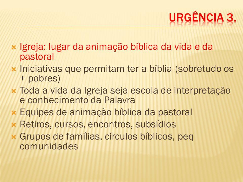 Igreja: lugar da animação bíblica da vida e da pastoral Iniciativas que permitam ter a bíblia (sobretudo os + pobres) Toda a vida da Igreja seja escol