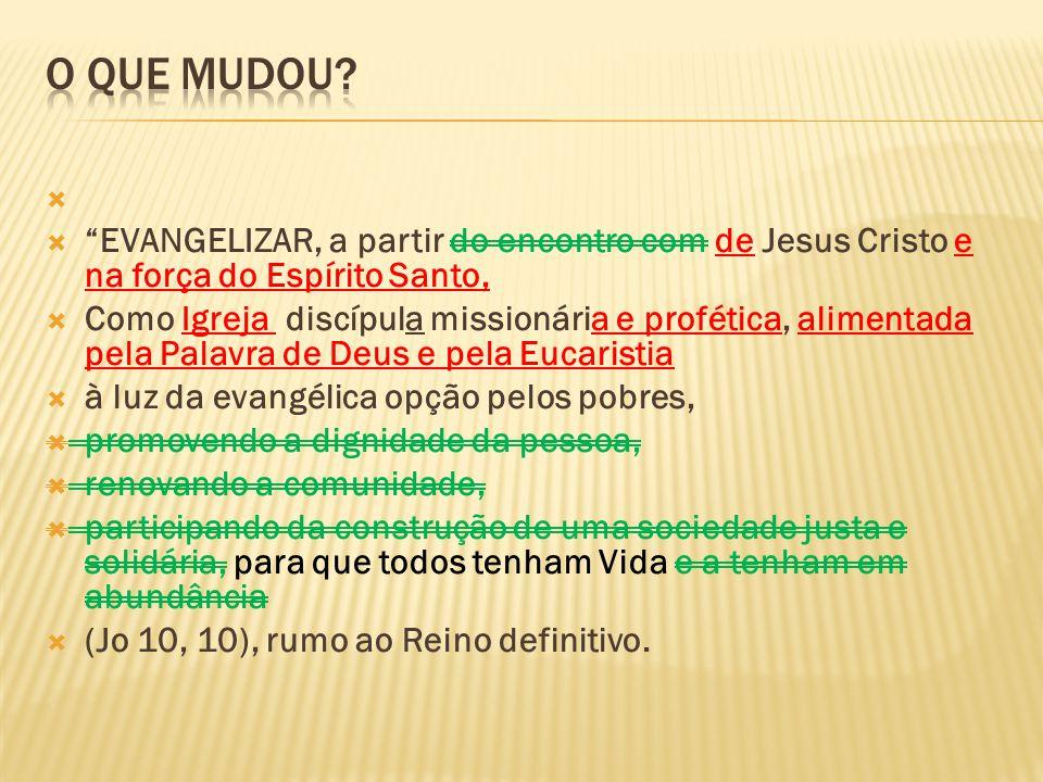 EVANGELIZAR, a partir do encontro com de Jesus Cristo e na força do Espírito Santo, Como Igreja discípula missionária e profética, alimentada pela Pal
