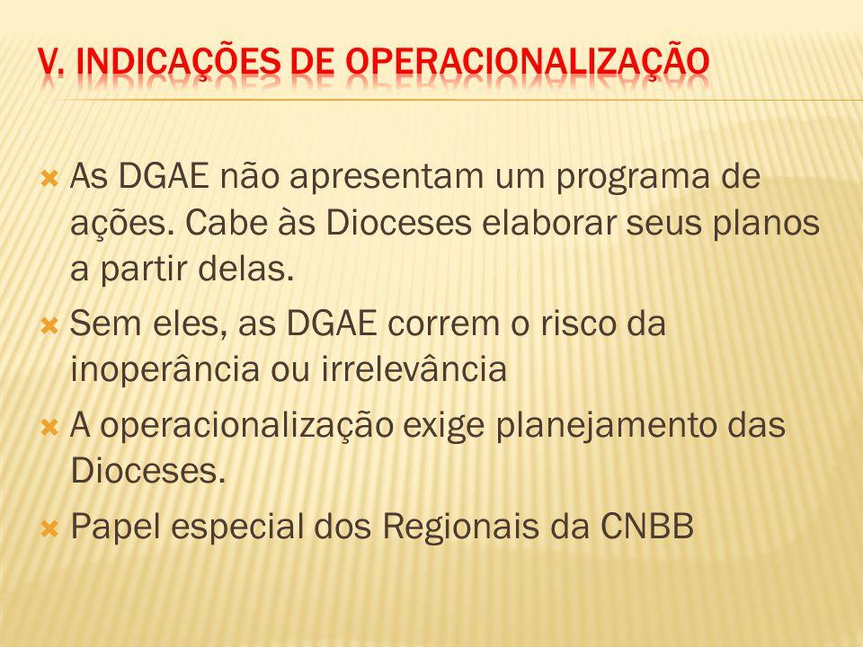 As DGAE não apresentam um programa de ações. Cabe às Dioceses elaborar seus planos a partir delas. Sem eles, as DGAE correm o risco da inoperância ou