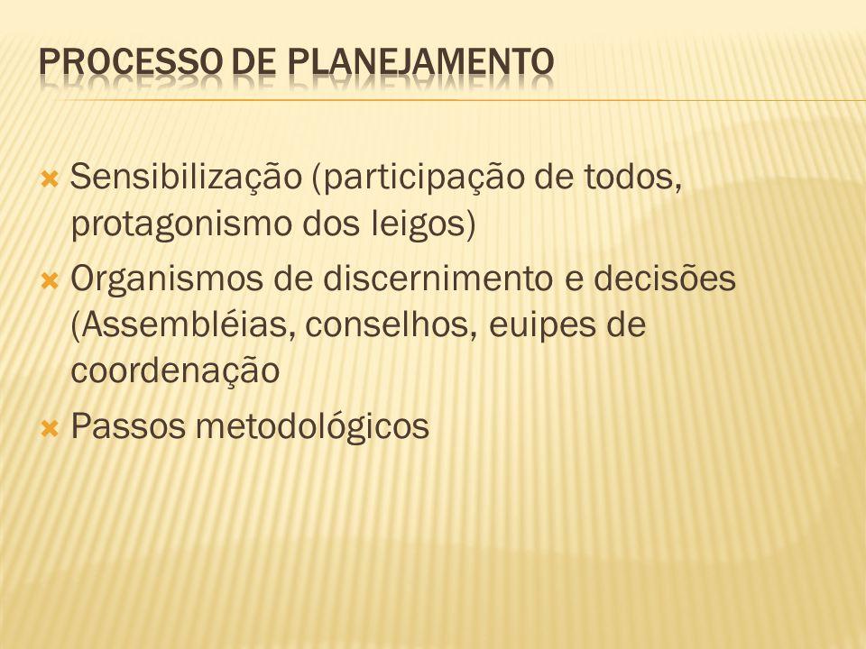 Sensibilização (participação de todos, protagonismo dos leigos) Organismos de discernimento e decisões (Assembléias, conselhos, euipes de coordenação