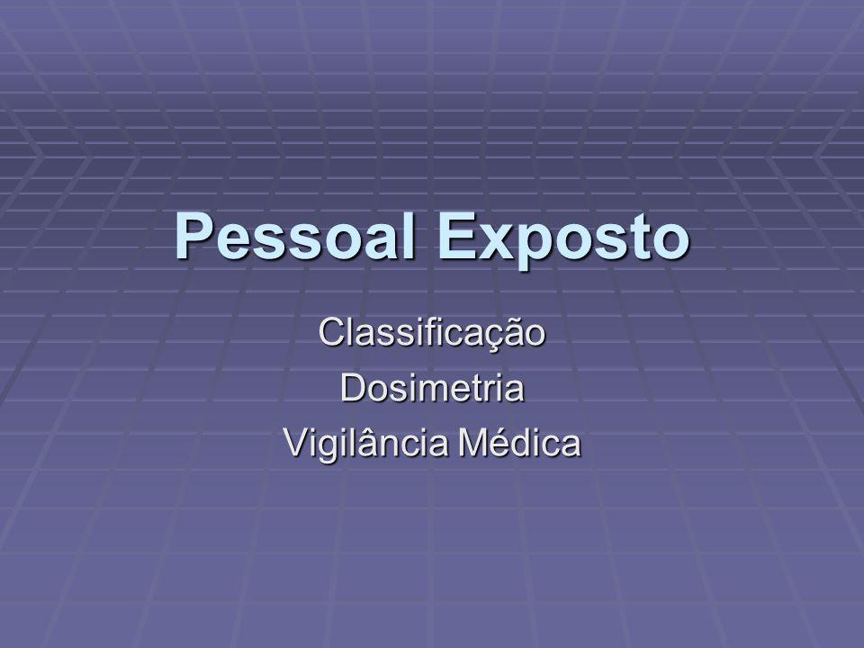 Pessoal Exposto ClassificaçãoDosimetria Vigilância Médica