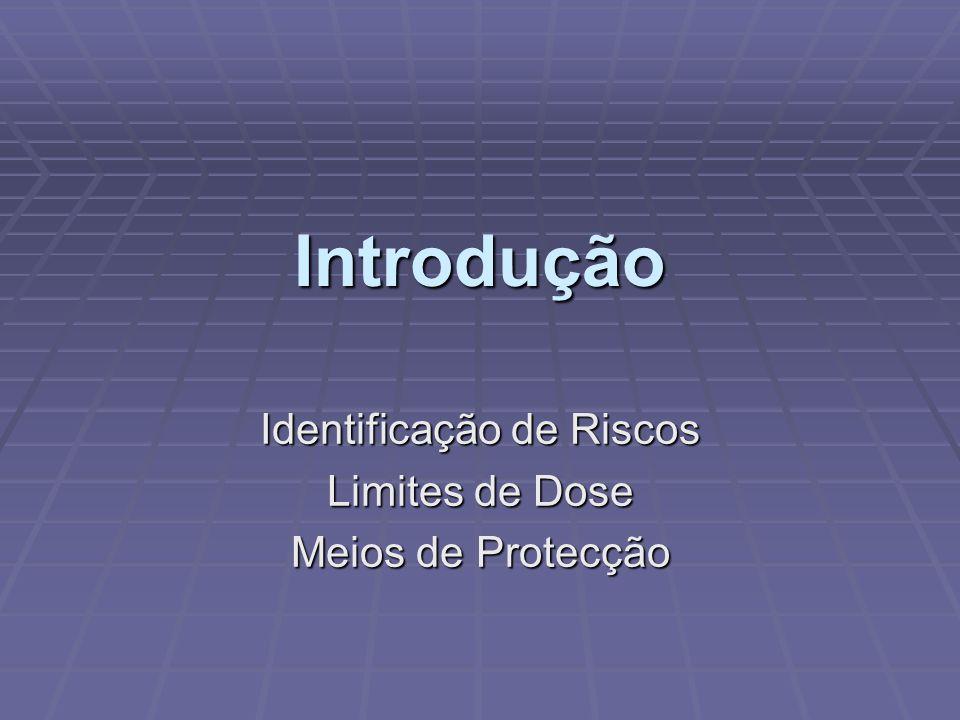 Introdução Identificação de Riscos Limites de Dose Meios de Protecção