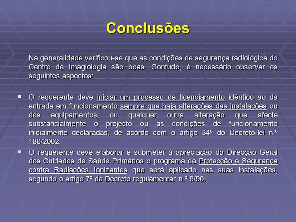 Conclusões Na generalidade verificou-se que as condições de segurança radiológica do Centro de Imagiologia são boas. Contudo, é necessário observar os