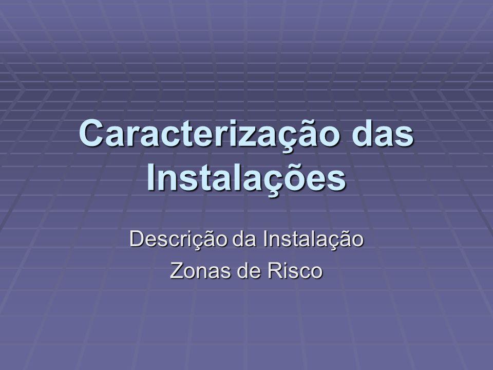 Caracterização das Instalações Descrição da Instalação Zonas de Risco