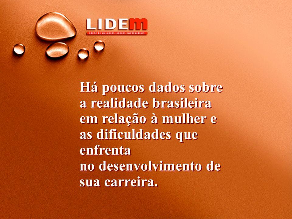 Há poucos dados sobre a realidade brasileira em relação à mulher e as dificuldades que enfrenta no desenvolvimento de sua carreira.