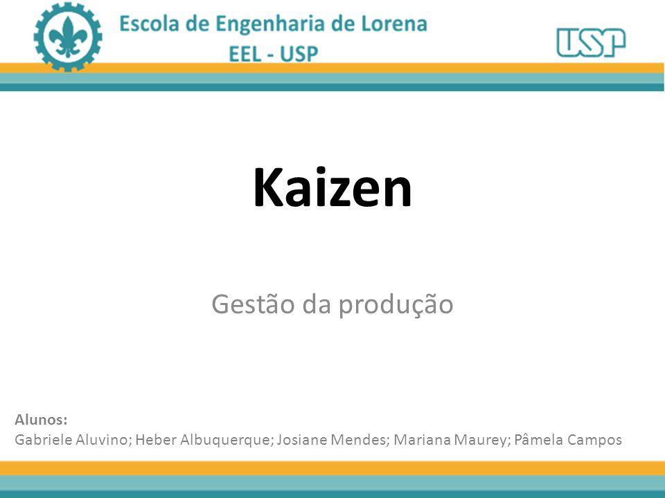 Kaizen Gestão da produção Alunos: Gabriele Aluvino; Heber Albuquerque; Josiane Mendes; Mariana Maurey; Pâmela Campos