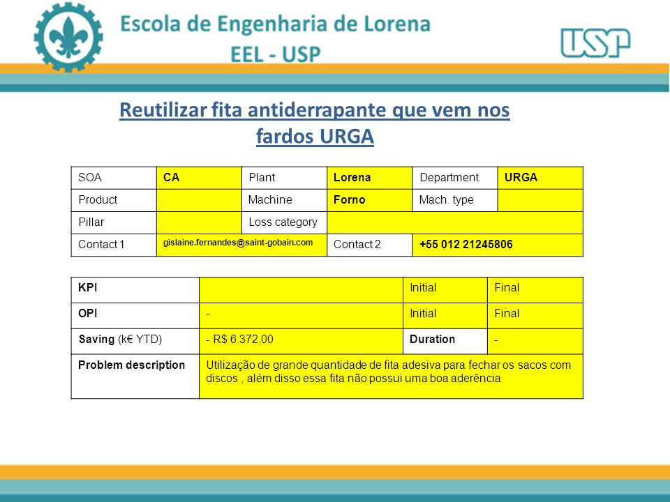 Reutilizar fita antiderrapante que vem nos fardos URGA SOACAPlantLorenaDepartmentURGA ProductMachineFornoMach. type PillarLoss category Contact 1 gisl