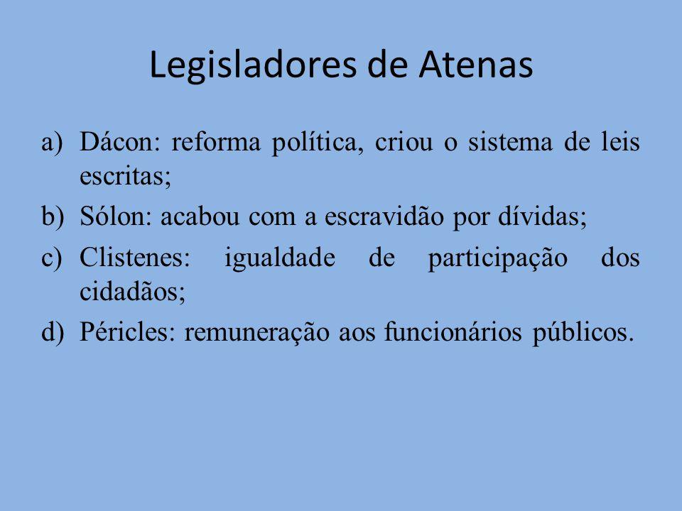 Legisladores de Atenas a)Dácon: reforma política, criou o sistema de leis escritas; b)Sólon: acabou com a escravidão por dívidas; c)Clistenes: igualda