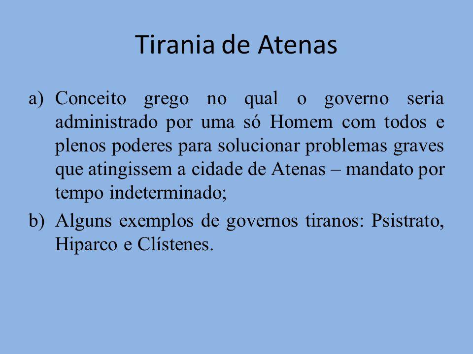 Tirania de Atenas a)Conceito grego no qual o governo seria administrado por uma só Homem com todos e plenos poderes para solucionar problemas graves q