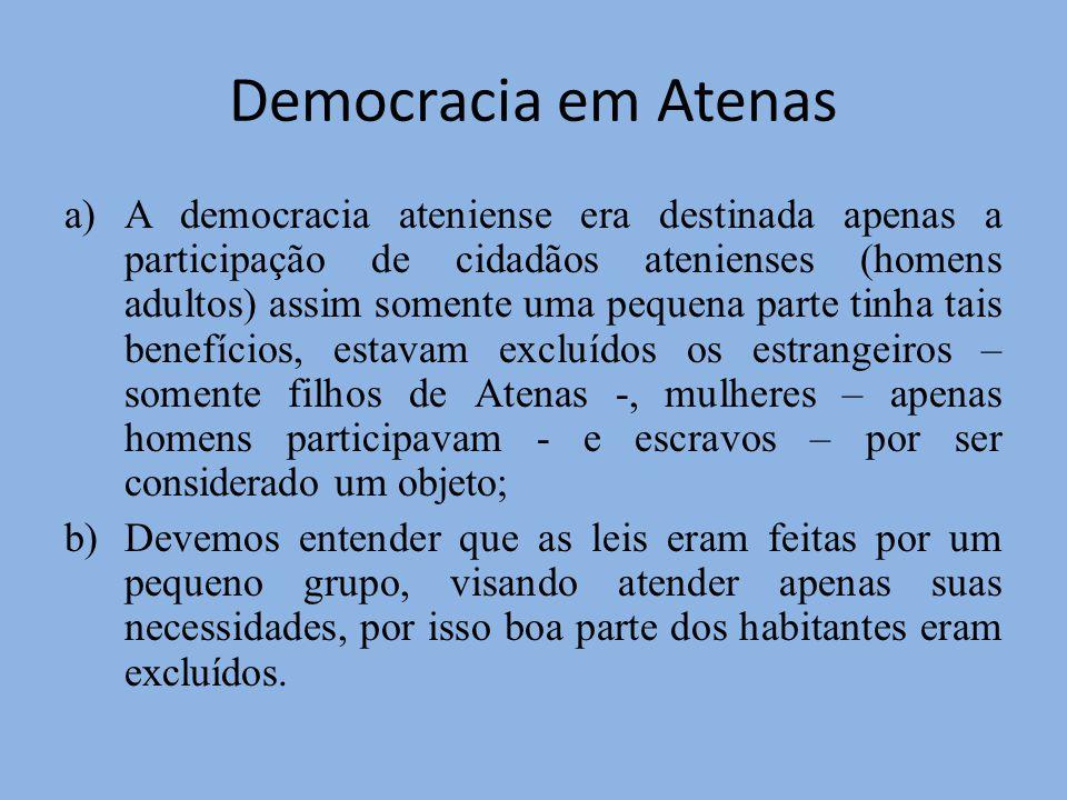Democracia em Atenas a)A democracia ateniense era destinada apenas a participação de cidadãos atenienses (homens adultos) assim somente uma pequena pa