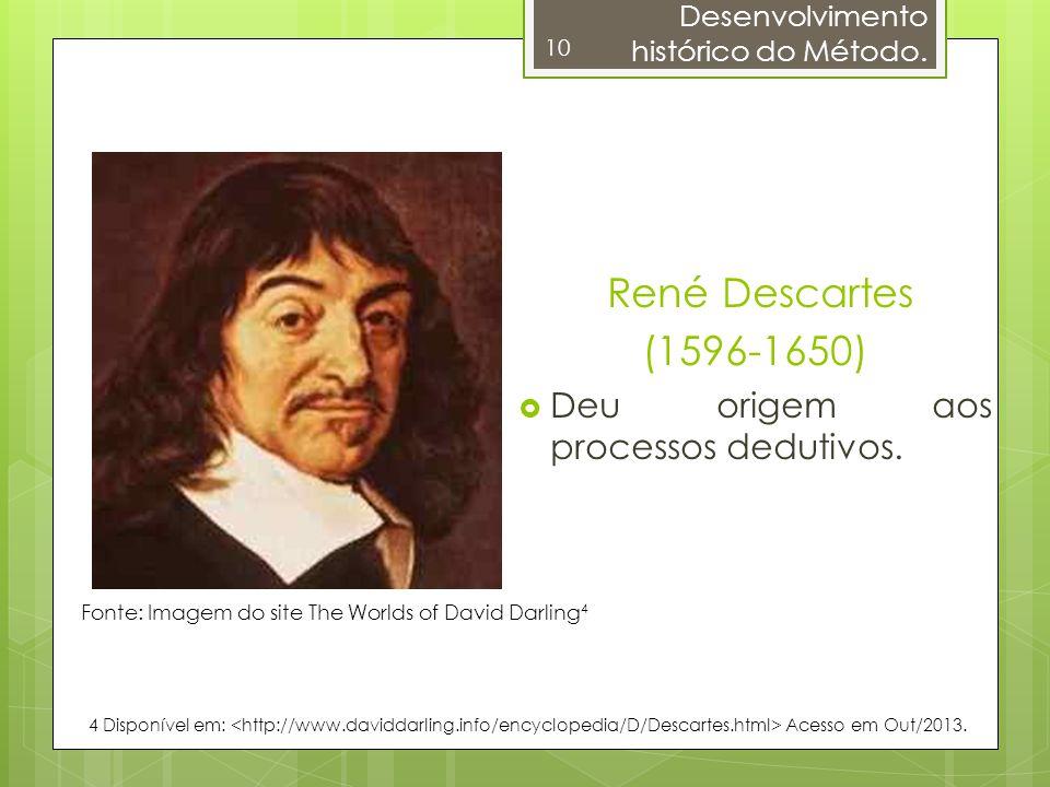 10 René Descartes (1596-1650) Deu origem aos processos dedutivos. Fonte: Imagem do site The Worlds of David Darling 4 4 Disponível em: Acesso em Out/2