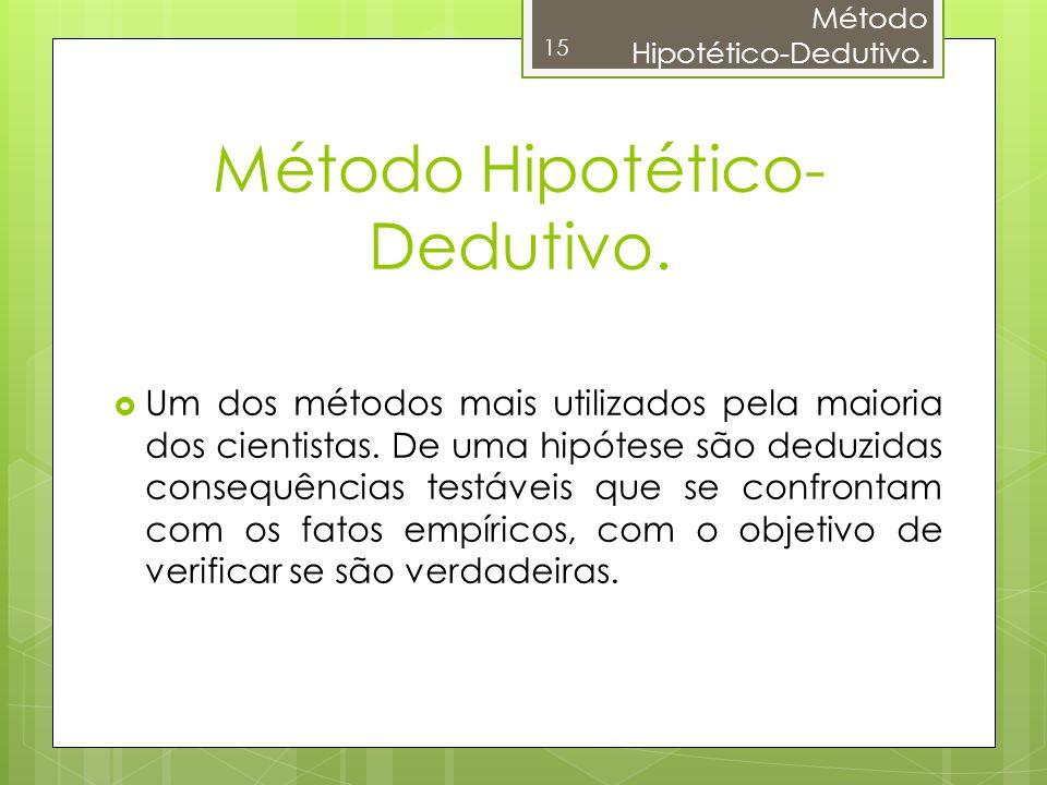 Método Hipotético-Dedutivo. 15 Método Hipotético- Dedutivo. Um dos métodos mais utilizados pela maioria dos cientistas. De uma hipótese são deduzidas