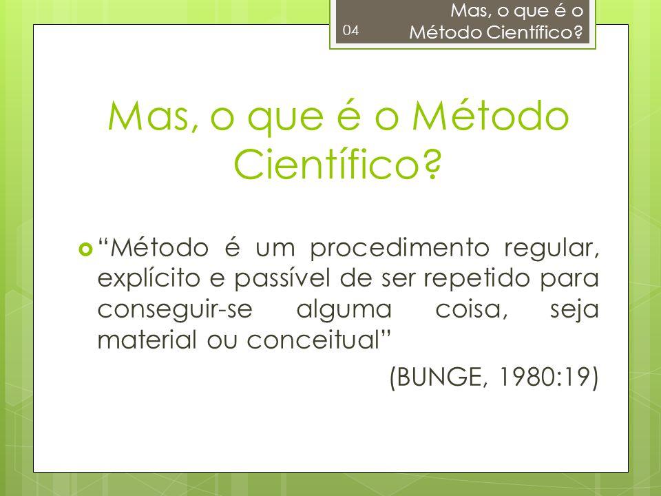 Método é um procedimento regular, explícito e passível de ser repetido para conseguir-se alguma coisa, seja material ou conceitual (BUNGE, 1980:19) Ma