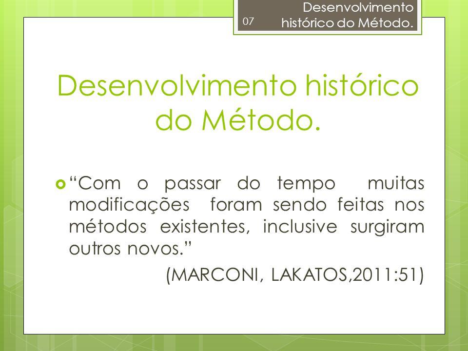 Desenvolvimento histórico do Método. 07 Com o passar do tempo muitas modificações foram sendo feitas nos métodos existentes, inclusive surgiram outros