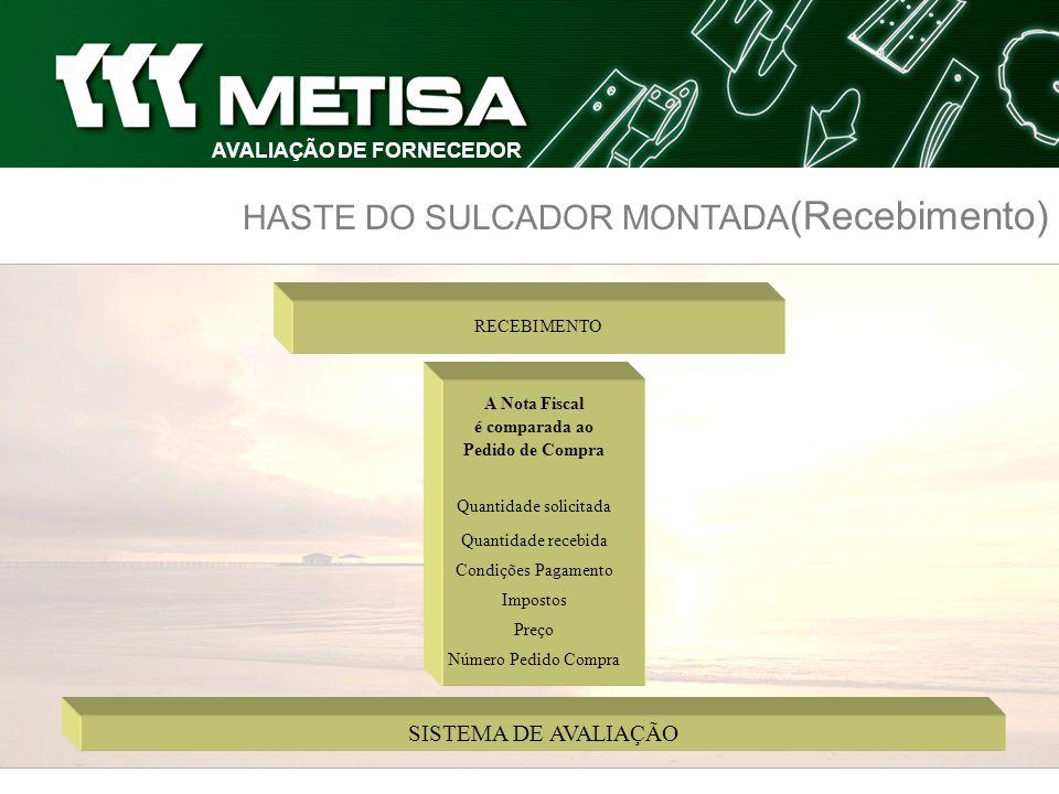 HASTE DO SULCADOR MONTADA (Recebimento) AVALIAÇÃO DE FORNECEDOR