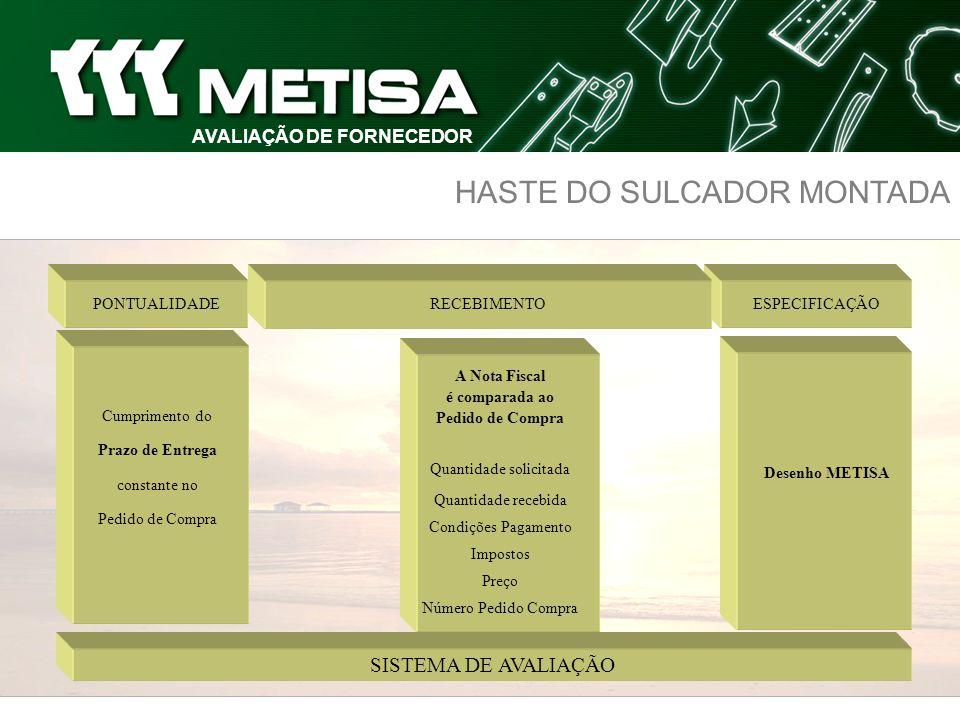 HASTE DO SULCADOR MONTADA ESPECIFICAÇÃO SISTEMA DE AVALIAÇÃO RECEBIMENTO Cumprimento do Prazo de Entrega constante no Pedido de Compra PONTUALIDADE A
