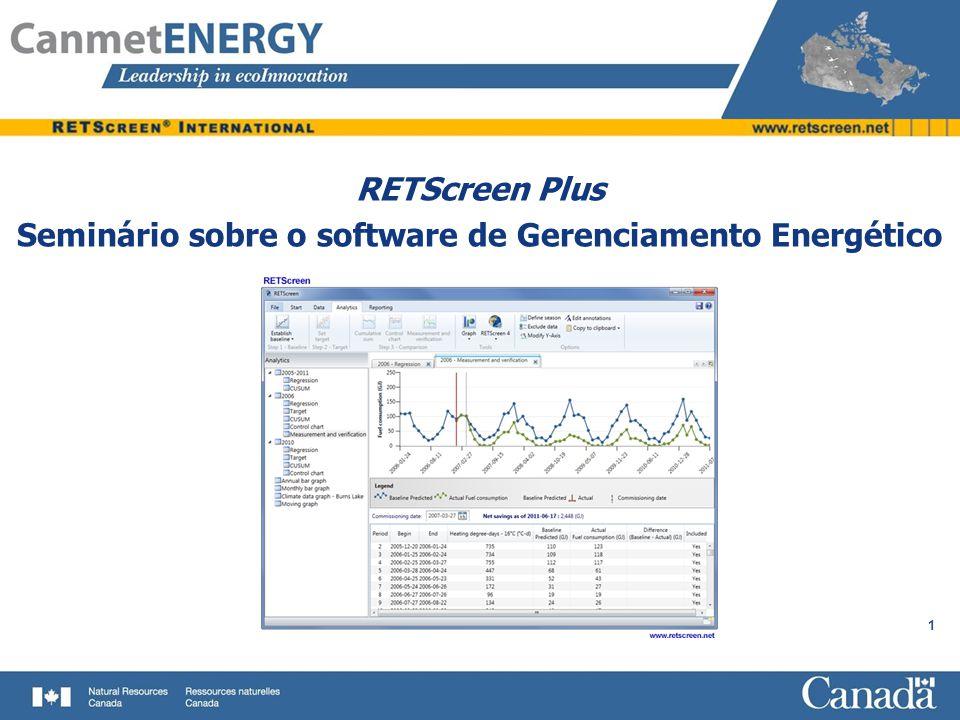 1 RETScreen Plus Seminário sobre o software de Gerenciamento Energético