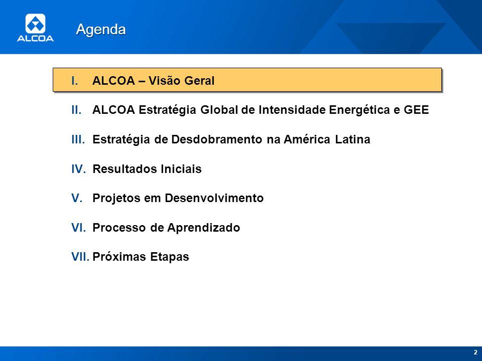 2 I.ALCOA – Visão Geral II.ALCOA Estratégia Global de Intensidade Energética e GEE III.Estratégia de Desdobramento na América Latina IV.Resultados Ini