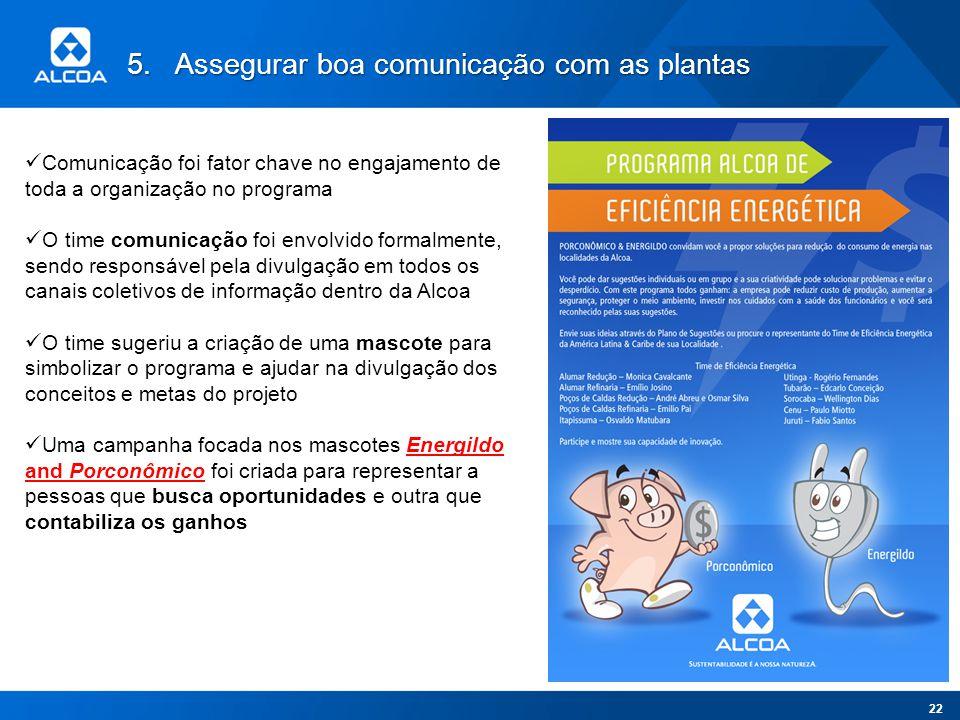 5.Assegurar boa comunicação com as plantas Comunicação foi fator chave no engajamento de toda a organização no programa O time comunicação foi envolvi