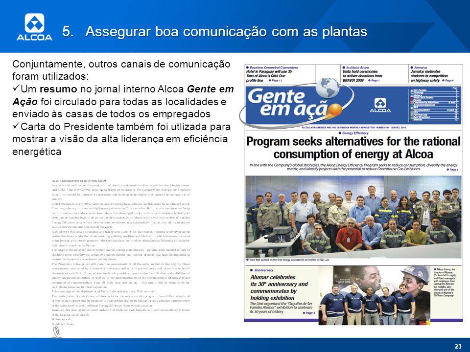 5.Assegurar boa comunicação com as plantas Conjuntamente, outros canais de comunicação foram utilizados: Um resumo no jornal interno Alcoa Gente em Aç