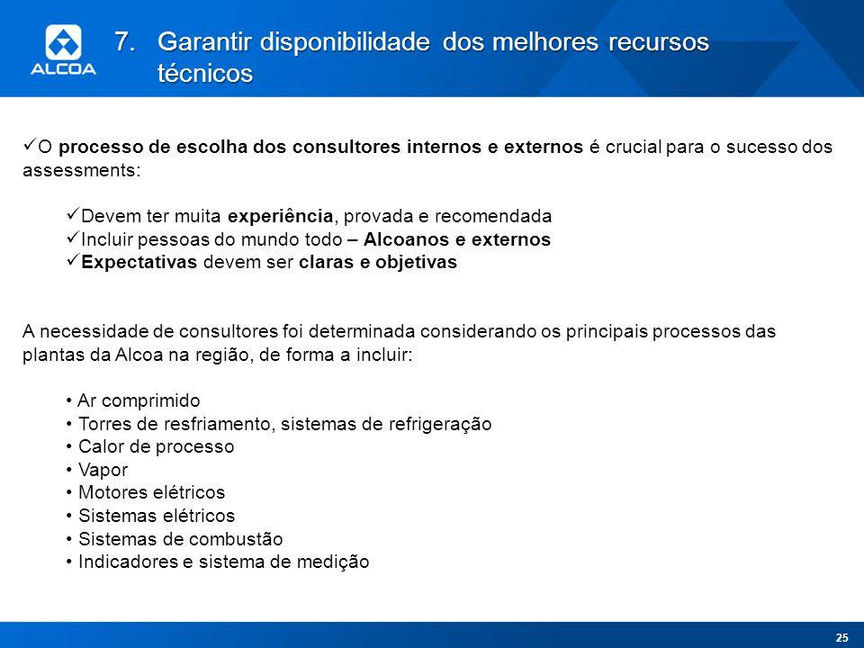 7.Garantir disponibilidade dos melhores recursos técnicos O processo de escolha dos consultores internos e externos é crucial para o sucesso dos asses