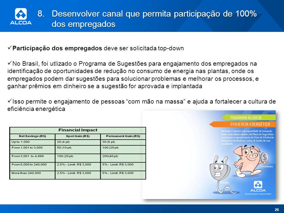 8.Desenvolver canal que permita participação de 100% dos empregados Participação dos empregados deve ser solicitada top-down No Brasil, foi utlizado o