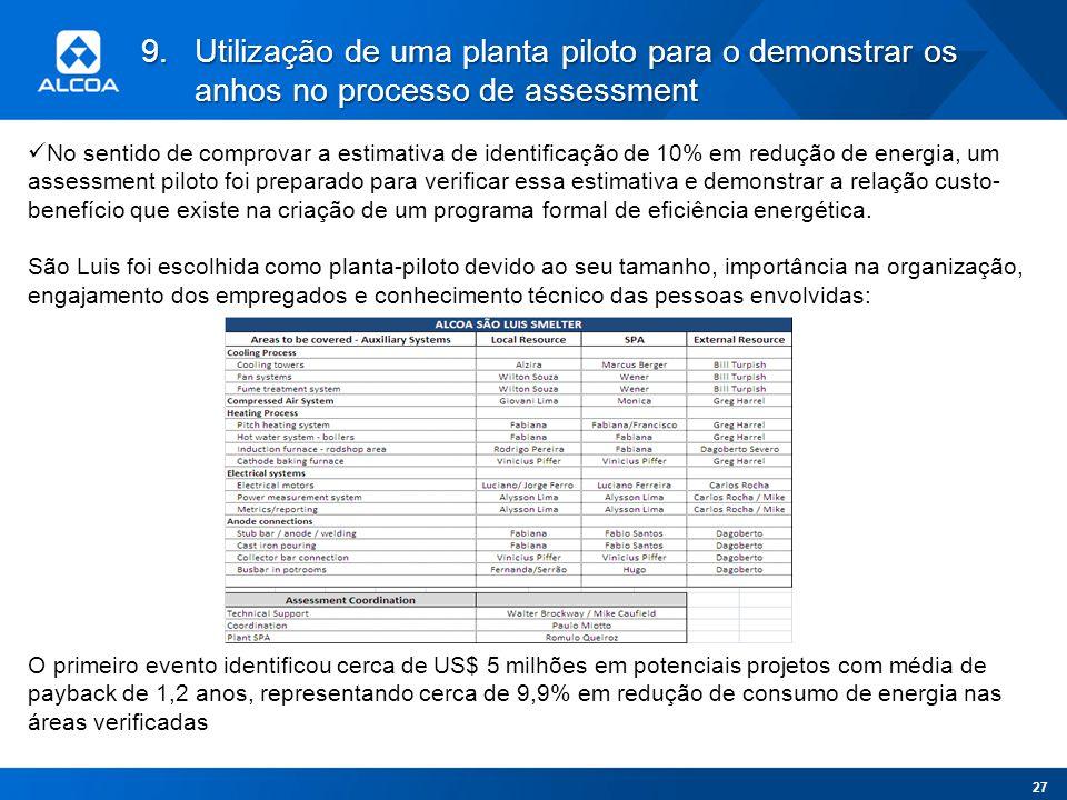 9.Utilização de uma planta piloto para o demonstrar os anhos no processo de assessment No sentido de comprovar a estimativa de identificação de 10% em