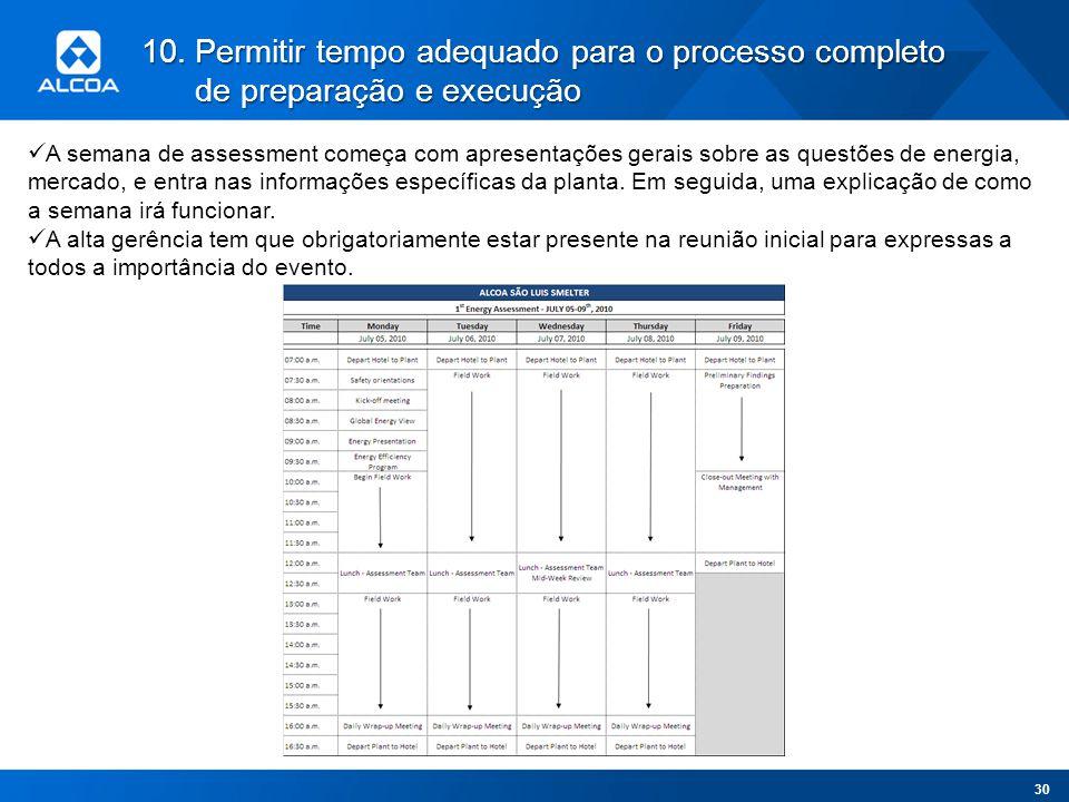 10.Permitir tempo adequado para o processo completo de preparação e execução A semana de assessment começa com apresentações gerais sobre as questões