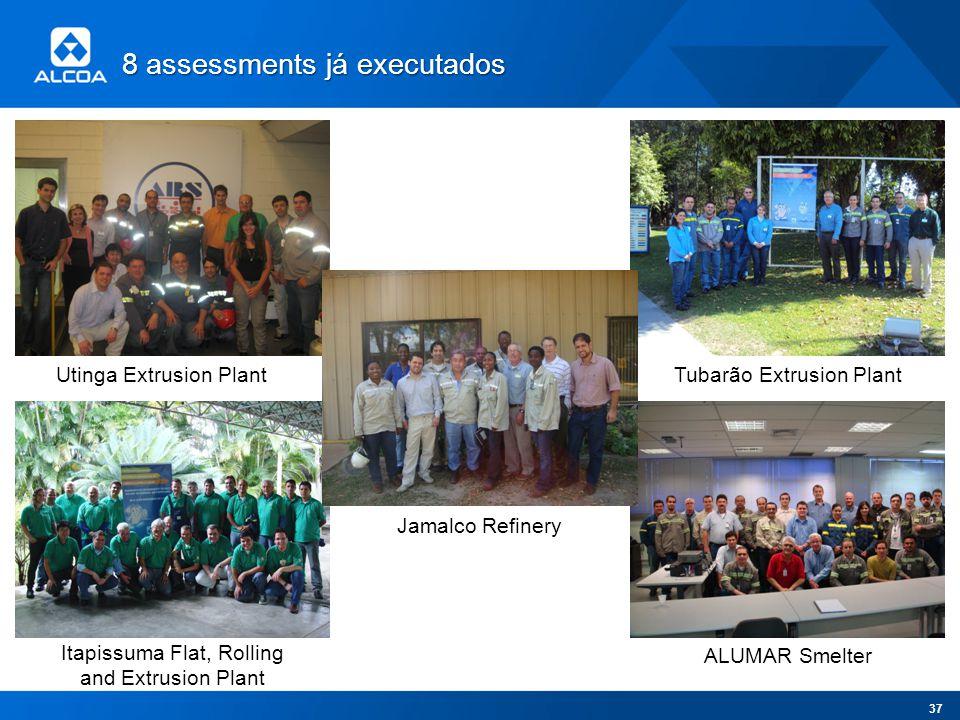 8 assessments já executados Utinga Extrusion Plant Itapissuma Flat, Rolling and Extrusion Plant Tubarão Extrusion Plant ALUMAR Smelter Jamalco Refiner