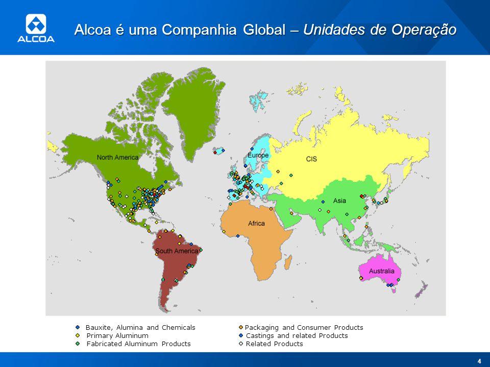 Alcoa é uma Companhia Global – Unidades de Operação Bauxite, Alumina and Chemicals Primary Aluminum Fabricated Aluminum Products Packaging and Consume