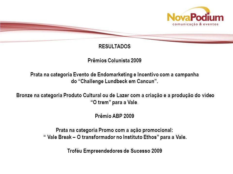 RESULTADOS Prêmios Colunista 2009 Prata na categoria Evento de Endomarketing e Incentivo com a campanha do Challenge Lundbeck em Cancun.
