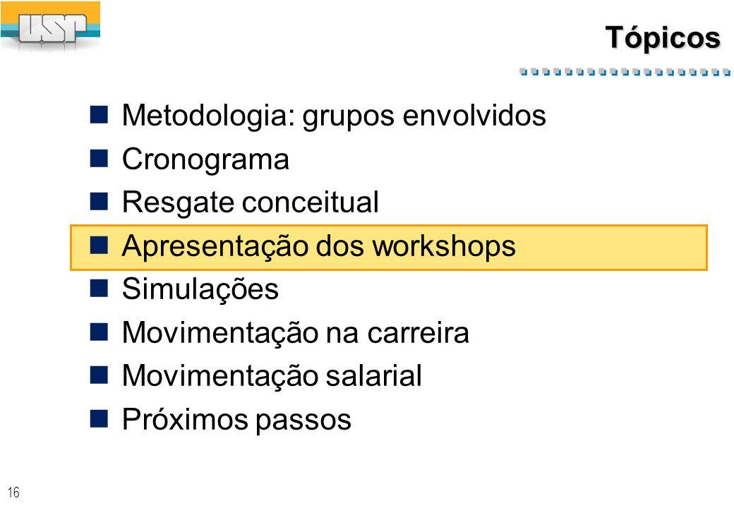 16 Tópicos Metodologia: grupos envolvidos Cronograma Resgate conceitual Apresentação dos workshops Simulações Movimentação na carreira Movimentação salarial Próximos passos