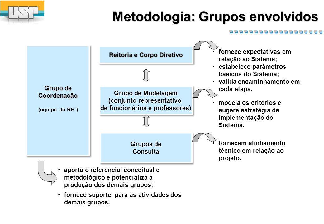 Metodologia: Grupos envolvidos fornece expectativas em relação ao Sistema; estabelece parâmetros básicos do Sistema; valida encaminhamento em cada etapa.