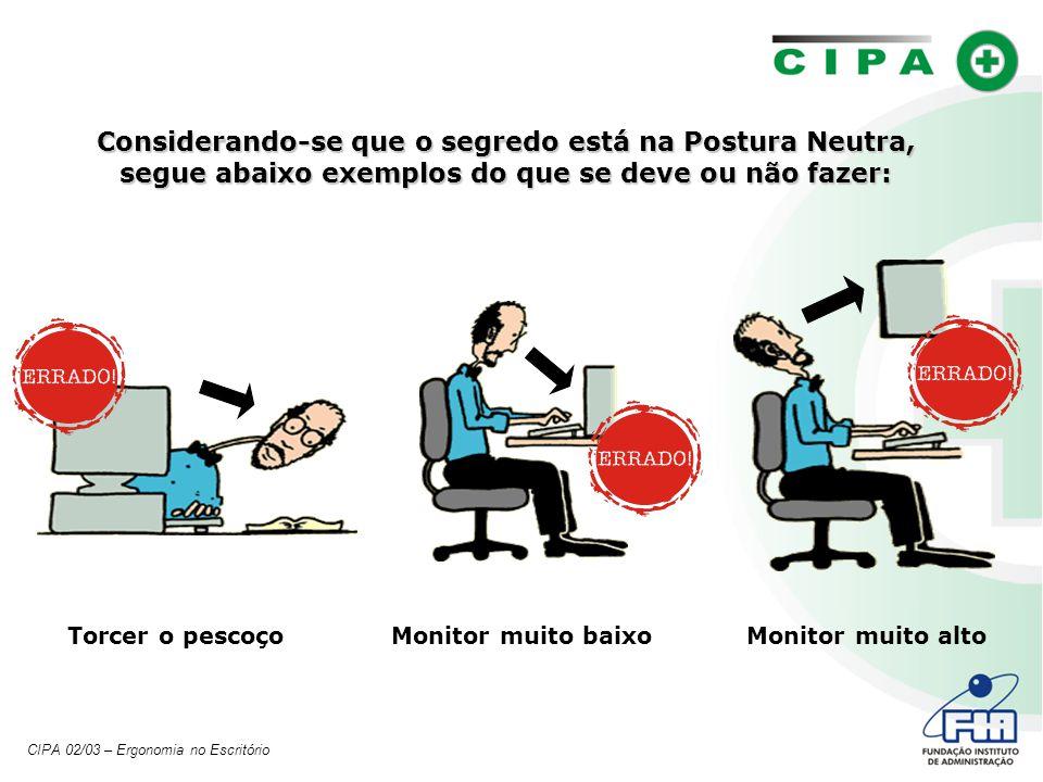 Considerando-se que o segredo está na Postura Neutra, segue abaixo exemplos do que se deve ou não fazer: Monitor muito altoMonitor muito baixoTorcer o pescoço CIPA 02/03 – Ergonomia no Escritório