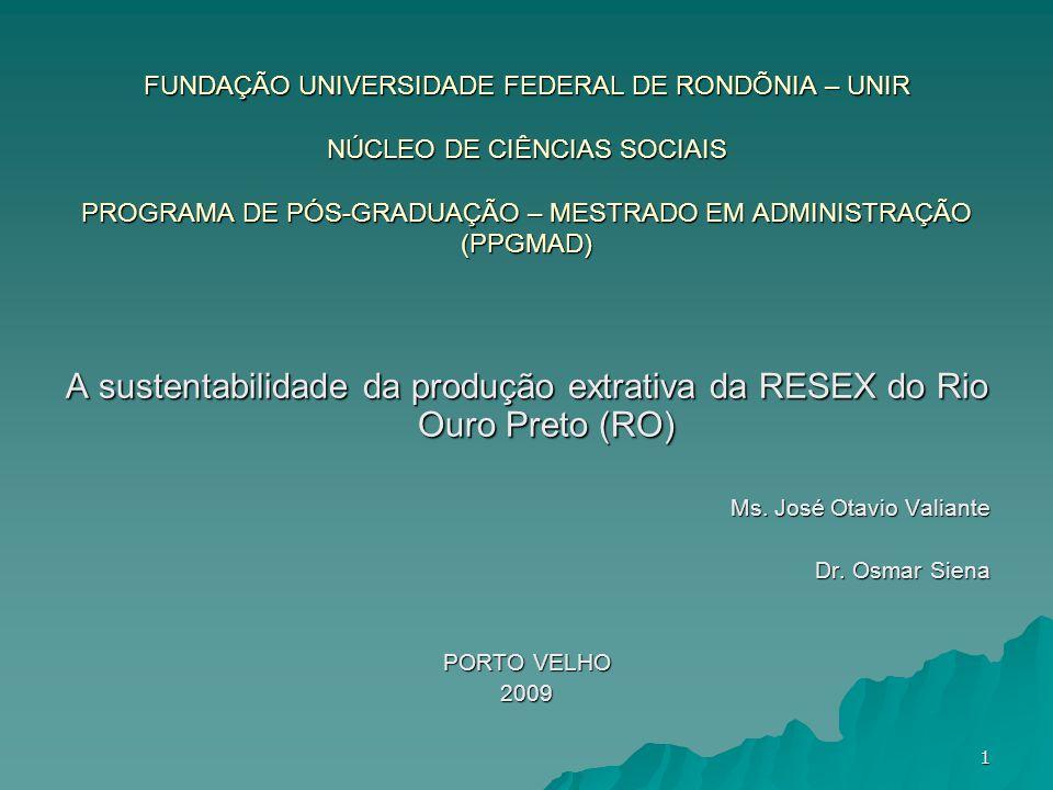 FUNDAÇÃO UNIVERSIDADE FEDERAL DE RONDÕNIA – UNIR NÚCLEO DE CIÊNCIAS SOCIAIS PROGRAMA DE PÓS-GRADUAÇÃO – MESTRADO EM ADMINISTRAÇÃO (PPGMAD) A sustentab