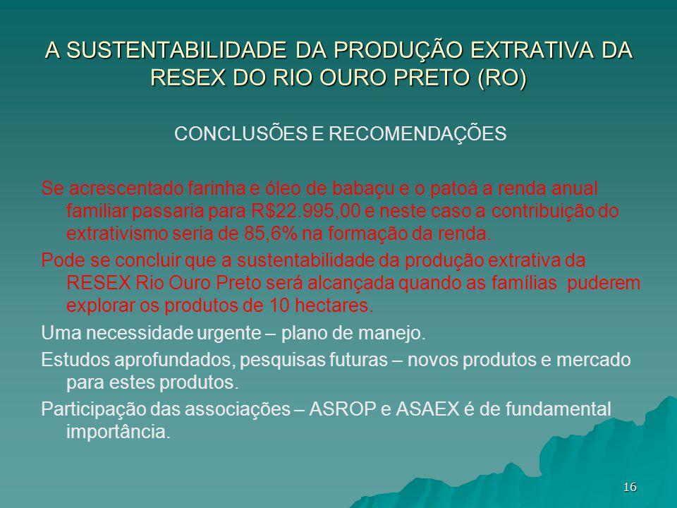 A SUSTENTABILIDADE DA PRODUÇÃO EXTRATIVA DA RESEX DO RIO OURO PRETO (RO) CONCLUSÕES E RECOMENDAÇÕES Se acrescentado farinha e óleo de babaçu e o patoá