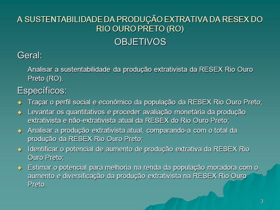 A SUSTENTABILIDADE DA PRODUÇÃO EXTRATIVA DA RESEX DO RIO OURO PRETO (RO) OBJETIVOSGeral: Analisar a sustentabilidade da produção extrativista da RESEX