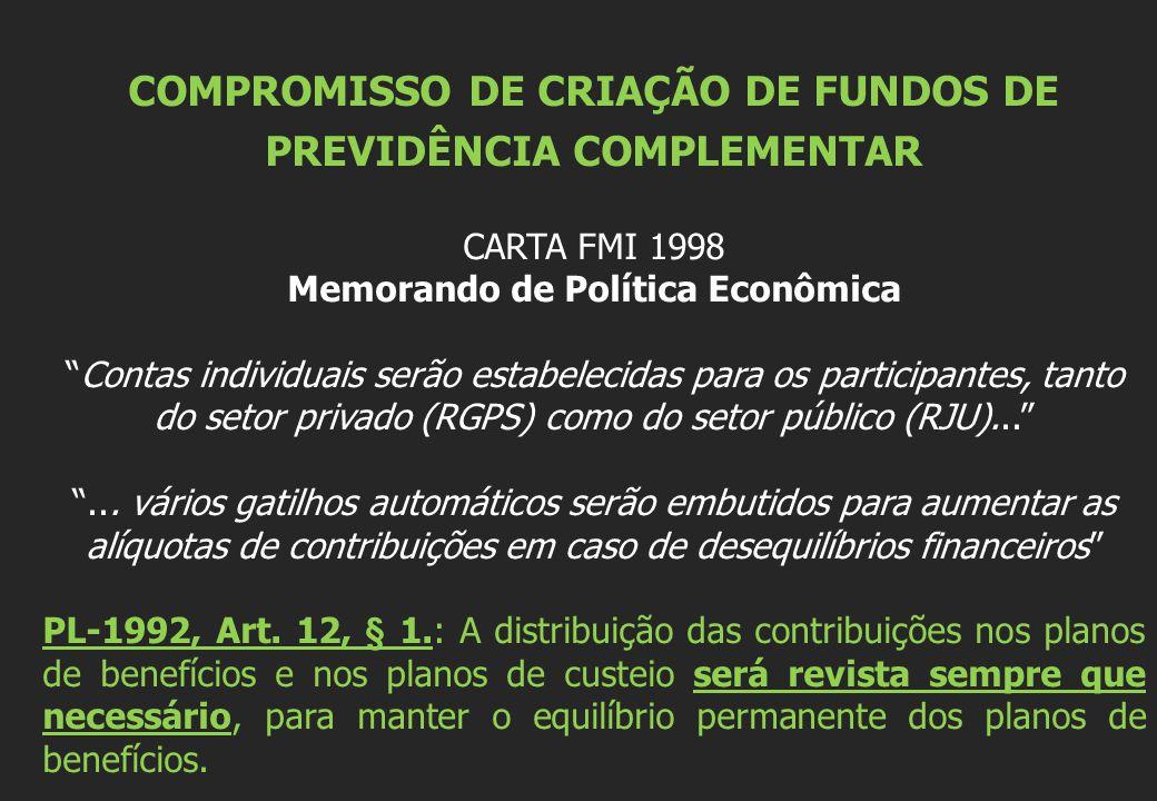 COMPROMISSO DE CRIAÇÃO DE FUNDOS DE PREVIDÊNCIA COMPLEMENTAR CARTA FMI 1998 Memorando de Política Econômica Contas individuais serão estabelecidas para os participantes, tanto do setor privado (RGPS) como do setor público (RJU)......