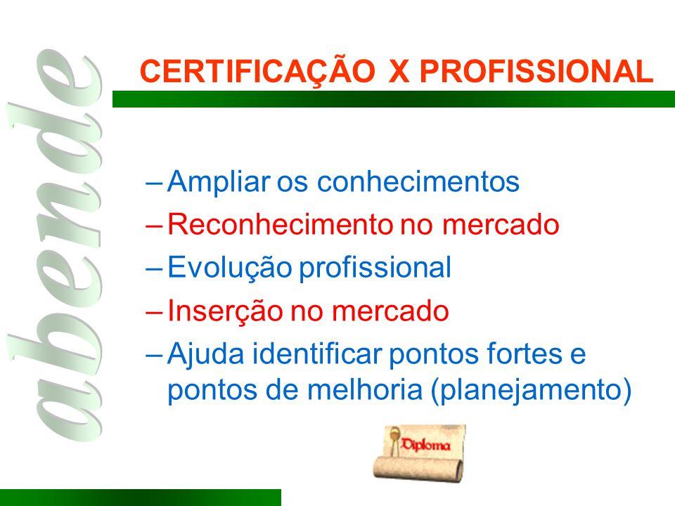 CERTIFICAÇÃO X PROFISSIONAL –Ampliar os conhecimentos –Reconhecimento no mercado –Evolução profissional –Inserção no mercado –Ajuda identificar pontos